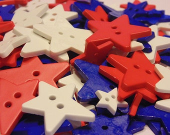 30 piece assorted red, white and blue star button mix, 12-28 mm (B11)