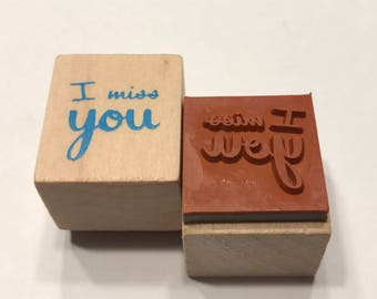 I miss you, rubber stamp, 16 mm (BB1/5)