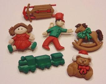 6 piece large Christmas toys button set, 23-35 mm (B5)