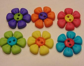 6 piece cute flower button mix, 18 mm (B4)