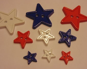 9 piece red, white and blue star button mix,12-28 mm (3)