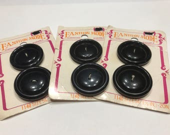 6 large Vintage black 1 3/8 inch acrylic buttons (1)