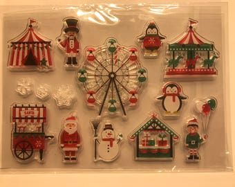 14 piece clear Christmas stamp set, 10 -50 mm