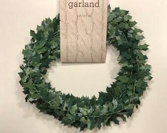 9 feet of holly leaf  garland (A1)