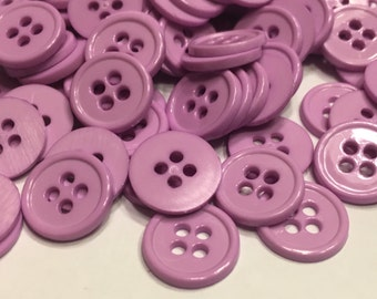 20 acrylic lilac color buttons, 12 mm (B2)