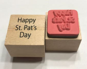 small Happy Pats (Patricks) Day rubber stamp, 20 mm (BB4/3)