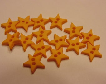 15 tiny yellow star buttons, 9 mm (B6)