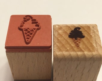 tiny ice cream cone rubber stamp, 17 mm (BB4/2)