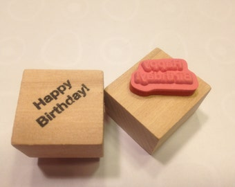 small Happy Birthday rubber stamp, 20 mm (A11)