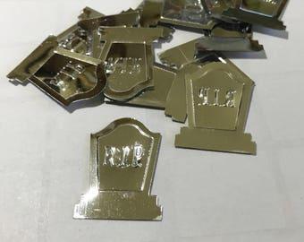 10 shinny silver tinsel tumbstone Halloween confetti, 15 x 25 mm (5)