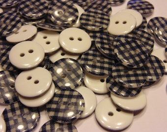 10 navy blue checkered buttons, 16 mm (21)
