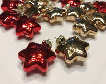 6 small assorted color glass star ornaments, 30 mm (LR4)