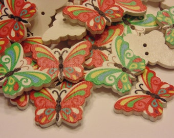 5 large colorful wood  butterfly buttons, 17 x 25 mm (B4)