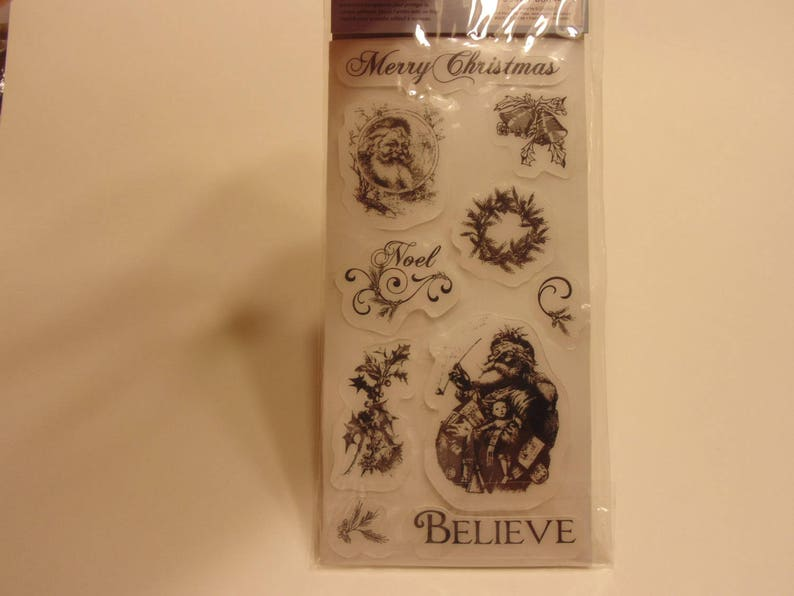 CL8 10 piece father christmas rubber cling stamp set 20-75 mm