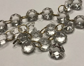 6 small vintage glass crystal bead chandalier 14 mm (A4)