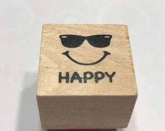 small Happy Face Rubber Stamp, 20 mm (BB4/2)