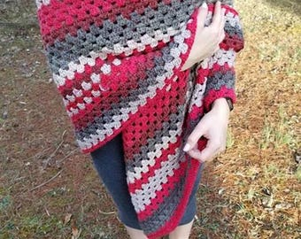 Granny square crochet shawl-caron cake yarn-Red velvet color-size small-wrap around, long V-style-open front