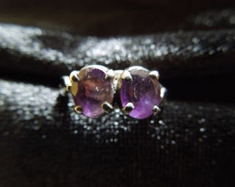 Vintage Silver Ring with Two Purple Stones, Size 5