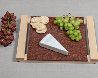 Beautiful Cheese Tray - Imperial Red Granite and Maple