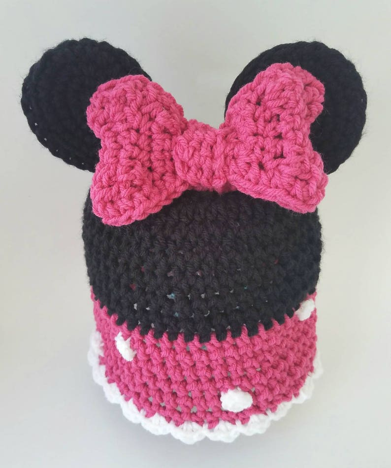 6b16c180013 Minnie Mouse pink bow inspired Crochet Hat-FREE SHIPPING-photo