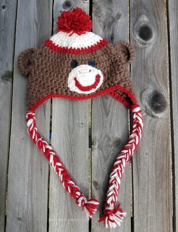 Sock Monkey Crochet Hat Free Shipping Photo Prop Hat Monkey Etsy