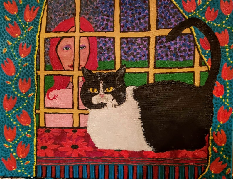 Twilight Kitty From Original Acrylic & Canvas Painting on image 0