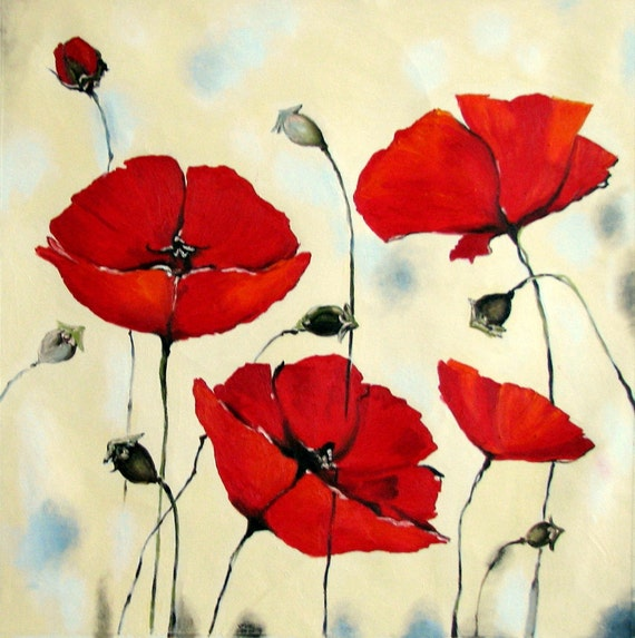 Oil Painting Red Poppies 35 X 35 Red Poppy Flower Painting Etsy
