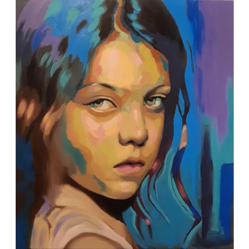 Schilderij Met Eigen Foto.Kleurrijke Abstracte Portret Schilderij Op Maat Van Uw Eigen Etsy