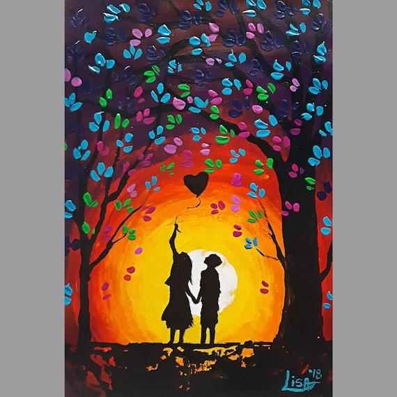 Petite Peinture Originale Coloree Acrylique Wall Art Amitie Etsy