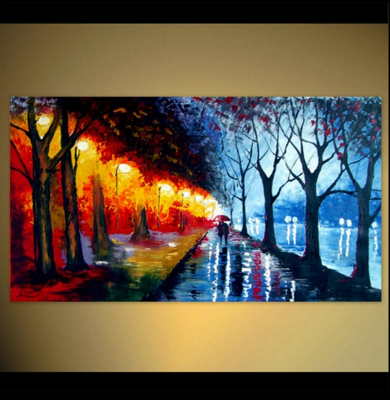Rain Umbrella Acrylic Painting A Couple Walking In The Night Etsy