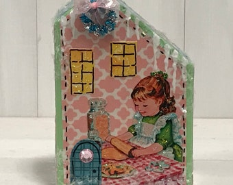 collectables wooden block houses Christmas village houses vintage appeal glitter houses vintage illustrations Christmas decoration