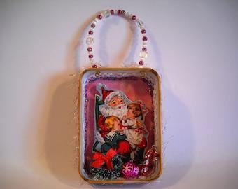 Santa ornament,metal tin ornament, Christmas ornament, dioramas, miniatures, vintage images, metal tin, Santa and kids, retro Christmas