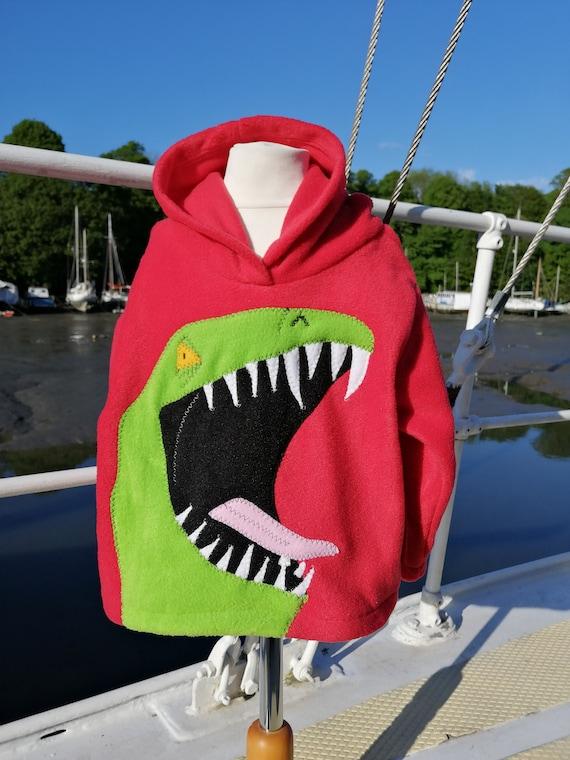 Adult Dino zip Hoodie size XS grey fleece jacket dino spikes 8