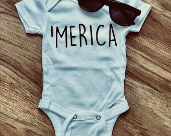 c4bcbd403 Merica - 4th of july onesie - Independence Day - patriotic - summer baby -  pregnancy announcement