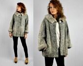 SALE 50s Gray Persian Curly Astrakhan Lamb Mink Fur Collar Wrists Jacket Coat - Silver Persian CURLY LAMB - Pockets Cape Capelet Stole S M