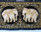 SALE Huge Burmese Elephants Tapestry Wall Hanging - Embroidered Elephant Tapestry - Heavily Beaded Art Work Textile - Large Big Wall Hanging
