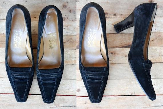 Secretary Ferragamo Leather Cocktail Pumps Shoes High Ferragamo Suede Black 7 Classic 5 Elegant SALE Salvatore C 37 Shows Heels YxI8nwwq6