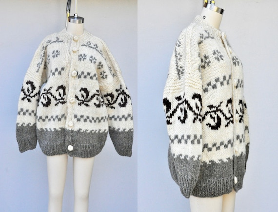 Vintage Icelandic Cardigan Sweater - Wool Cardigan