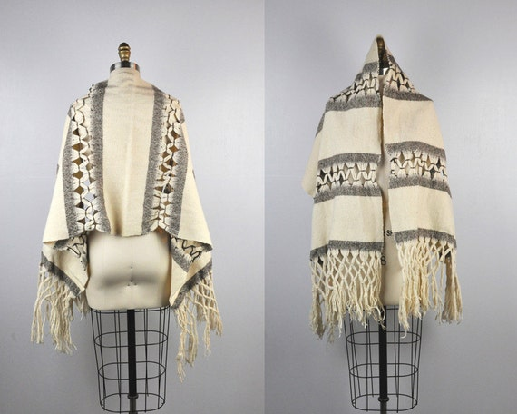Fringes Scarf - Alpaca Wool Scarf - Perforated Sca