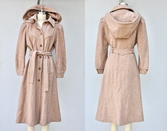HOODED Wool Coat - 60s 70s Coat - Beige Wool Trenc