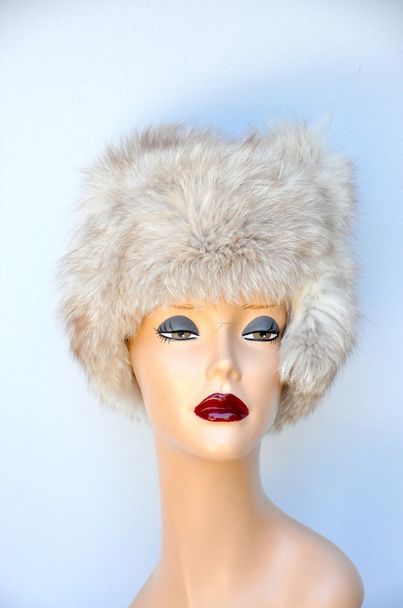 Vintage FOX Fur Hat - 50s 60s Mid Century Fox Fur… - image 5