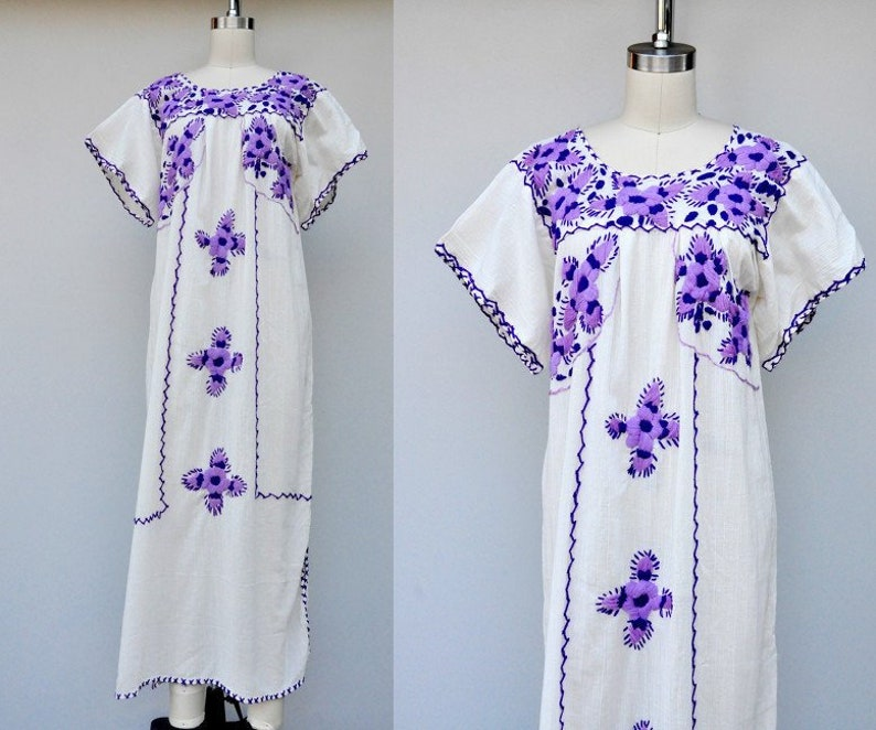 288c77ded69 SALE Vintage Embroidered Mexican Maxi Dress White with Floral