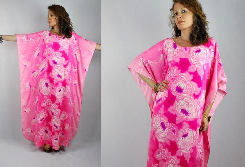 3adb113046 SALE Oversized Caftan Dress HAND PAINTED Pink Kaftan Dress | Etsy