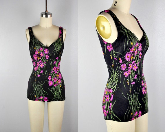 50s Swimsuit - 50s Bathing Suit - Draped Ruched Sw