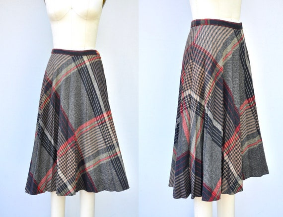 Vintage WOOL Skirt - Pleated Wool skirt - Plaid Wo
