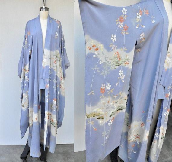 Vintage Very Long Sleeves Kimono - SILK Kimono - F
