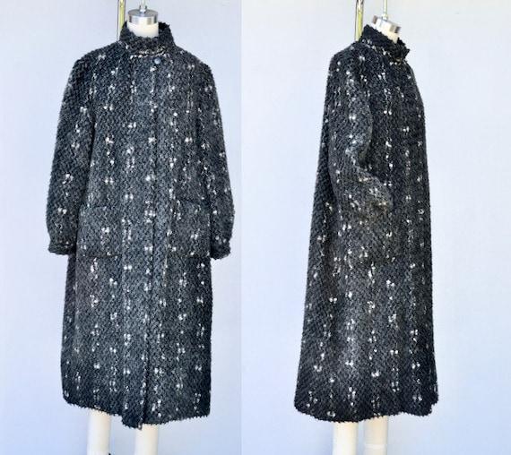 Vintage Pop Corn Wool Duster Coat - Chunky Wool Du