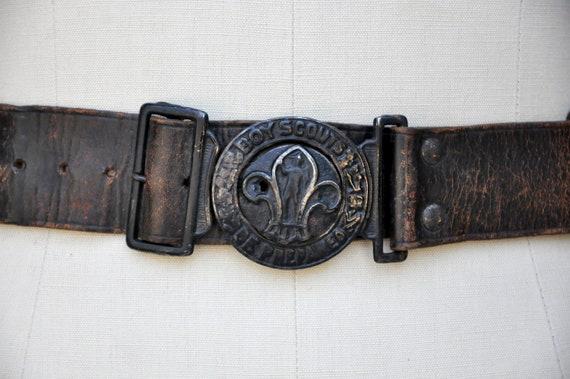 Vintage 30s 40s Boy Scouts Leather Belt - BSA Lea… - image 2