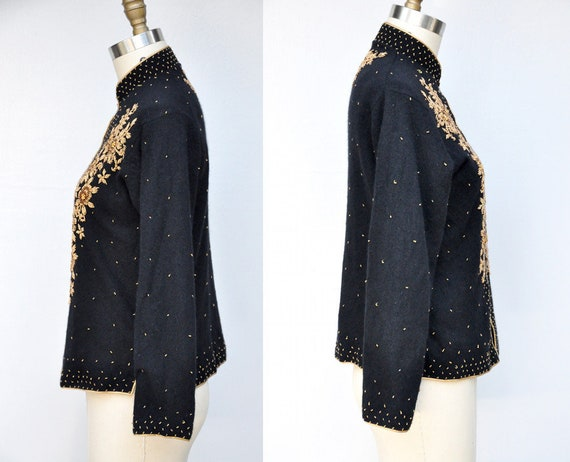 Vintage Cashmere Beaded Cardigan - 50s Black Cash… - image 4