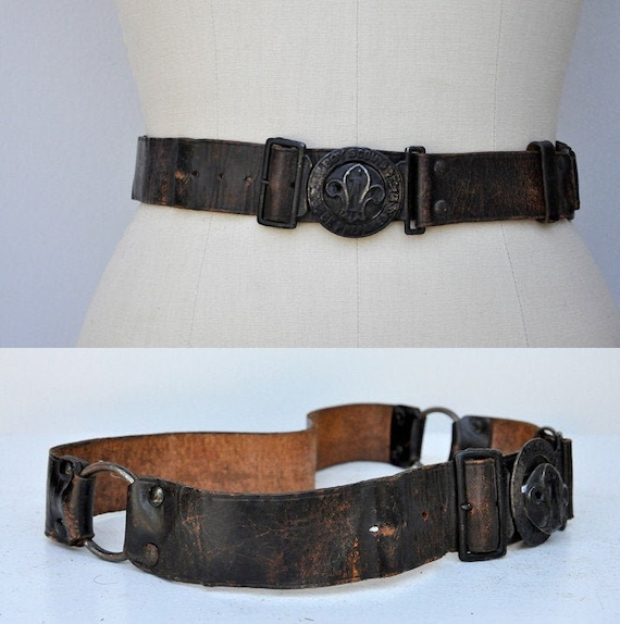 Vintage 30s 40s Boy Scouts Leather Belt - BSA Leat